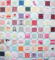 quilt made from baby clothes I would love to do this with the girls favorite outfits.