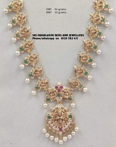 Very light wt necklaces new designs.Presenting 42 gm Nt Gold wt necklace . Visit us for full range 8125 782 411 Pearl Necklace Designs, Jewelry Design Earrings, Gold Earrings Designs, Gold Jewellery Design, Antique Jewellery, Jewelry Sets, Gold Wedding Jewelry, Gold Jewelry Simple, Bridal Jewelry