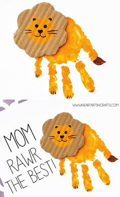 "Handprint lion card ""You are A-Rawr-f . - Handprint lion card ""You are A-Rawr capable"" - Kids Crafts, Mothers Day Crafts For Kids, Daycare Crafts, Mothers Day Cards, Baby Crafts, Toddler Crafts, Toddler Activities, Preschool Activities, Arts And Crafts"