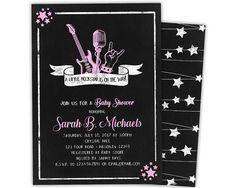 Pink Rock Star Baby Shower Invitations - Girl Rock N Roll Baby Shower Invite - Girl Guitar Baby Shower Invitation - Pink Chalk Baby Shower