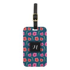 Anemone Flower Watercolor Painting Pattern Luggage Tag - monogram gifts unique custom diy personalize