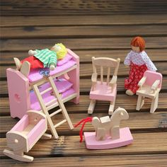 Pretend Play Wooden Doll Bunk Bed Set