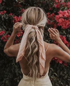 cute hairstyles || easy hair styles for long hair; ponytail with hair scarf;