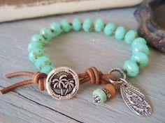 Beachy knotted bracelet  Palm Island  seafoam green by slashKnots, $48.00