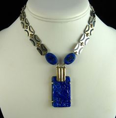 Art Deco Chrome and Lapis Molded Glass Necklace from Ornaments Exclusively on Ruby Lane
