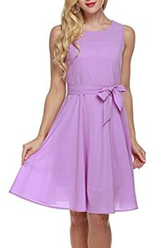 Zeagoo Women Chiffon Summer Sleeveless A-line Pleated Party Cocktail Dress With Belt at Amazon Women's Clothing store: