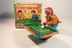 LUCKY MONKEY PLAYING BILLIARDS,Japan (TPS) wind-up vintage tin toy box 1950s EXC