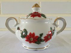 Lefton China Christmas Holiday Poinsettia by SweetestCollections