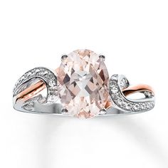 10K Rose Gold & Sterling Silver Diamond & Morganite Ring