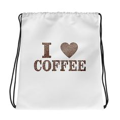 I Love Coffee - Drawstring bag. Combine your love for vibrant prints and a sporty style with a cool drawstring bag. I Love Coffee, My Coffee, Gym Essentials, Drawstring Bags, Sporty Style, Gym Bag, Shop My, Cool Stuff, My Love
