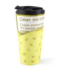 'Cheesy News: Have Something to Tell?' Travel Mug by We ~ Ivy Presents For Friends, Travel Mugs, Beach Towel, To Tell, Ivy, Special Occasion, Gift Ideas, Personalized Items, News