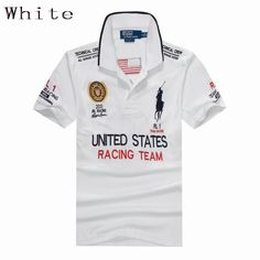 Polo Ralph Lauren Men United states Racing Team Short Sleeve White