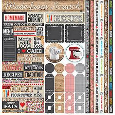 Reminisce IN THE KITCHEN 12x12 Cardstock Sticker Sheet scrapbooking
