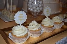 Cupcakes at a White and gold baptism party #baptism #whitegoldcupcakes