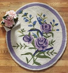 oval purple rose area rug | Purple Floral Hand Hooked Oval Area Rug from Collections Etc.