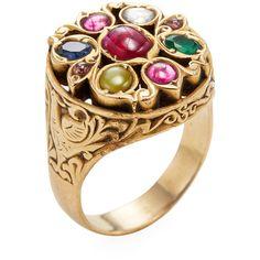 Amrapali Women's 22K Yellow Gold & Navratna Stone Cocktail Ring - Size... (7.575 BRL) ❤ liked on Polyvore featuring jewelry, rings, multi, gold jewellery, cocktail rings, gold stone jewelry, stone jewellery and stone jewelry