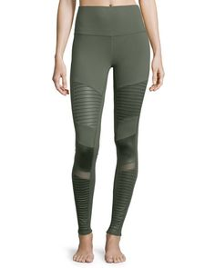 I0PMU Alo Yoga High-Waist Moto Sport Leggings with Mesh Panels