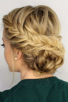 hair hair updos 42 Braided Prom Hair Updos To French Braid Hairstyles, Fancy Hairstyles, Wedding Hairstyles, Hairstyle Ideas, Beautiful Hairstyles, Latest Hairstyles, Perfect Hairstyle, Makeup Hairstyle, Vintage Hairstyles