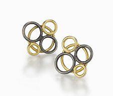 """Bubble Earrings by Ben Neubauer (Silver & Gold Earrings) (0.63"""" x 0.63"""")"""