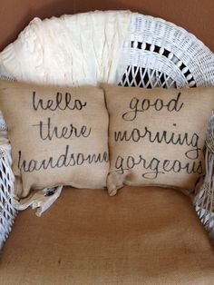 Hello handsome, good morning beautiful pillows, burlap pillows, decorative pillow, valentines day gift by burlapheartstrings on Etsy Burlap Pillows, Decorative Pillows, Bed Pillows, Burlap Fabric, Bolster Pillow, First Home, My Room, My Dream Home, Home Projects