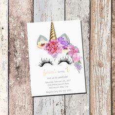 Unicorn Birthday Personalized Invitation 1 Sided, Birthday Card, Party Invitation, Unicorn Party