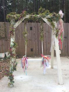 Decorated swing set and swing. ribbon swing , children , toys, outdoor , backyard toys,adults,play,outdoor furniture,wedding,photo prop