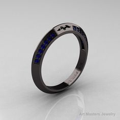 Modern French 14K Black Gold Blue Sapphire Matching by artmasters, $1499.00