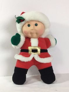 Cabbage Patch Kids 1992 Christmas Holiday Edition Plush Doll Green Eyes Santa  #Hasbro #DollswithClothingAccessories