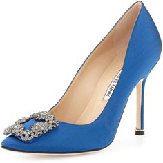 $965, Blue Embellished Satin Pumps: Manolo Blahnik Hangisi Satin Pump Cobalt Blue. Sold by Neiman Marcus.
