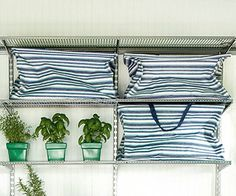 Storage Idea for Outdoor Cushions Use large canvas tote bags to store oversize items such as outdoor seating cushions. The bags will keep coordinating pillows together, while the handles make them easy to pull down from the top shelves and tote outside. Outdoor Seat Cushions, Outdoor Seating, Outdoor Spaces, Outdoor Living, Shed Storage, Built In Storage, Large Canvas Tote Bags, Large Tote, Clutter Control