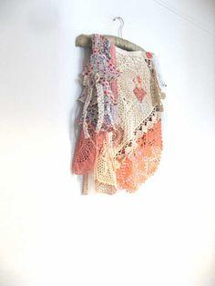 SALE - Frilly Apricot Wrap Skirt, Vintage Doily, Cream, Pink, Flowers, Chiffon, Rustic, Boho