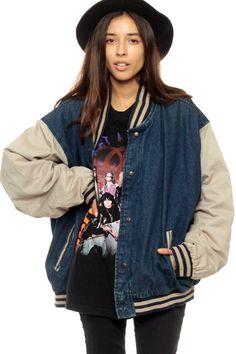 Baseball Jacket 80s DENIM Varsity 90s Dark Jean Sport by ShopExile