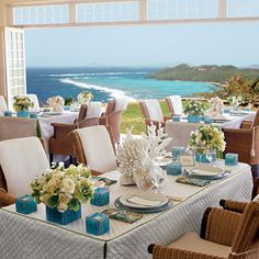 Nice clean beach table setting