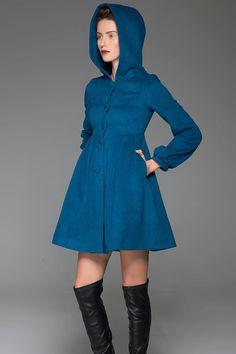 Blue Swing Coat - Hooded Fit & Flare Short Winter Jacket with Lantern Sleeves Women's Outerwear (1419)