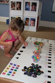 Great activity that grows with your child... Younger kids just fit rocks in by size, older ones can match colors or letters. Both ages can play side by side. I'll start now with just the sizes and some rocks since my guy is obsessed with them.