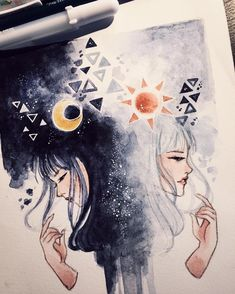 Gemini By Peithedragon Art Inspo, Inspiration Art, Pretty Art, Cute Art, Cute Drawings, Drawing Sketches, Dark Art Drawings, Ink Drawings, Drawing Ideas