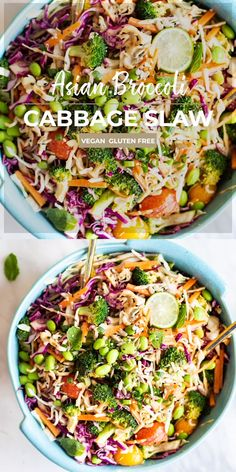 An Asian slaw made with roasted broccoli edamame and a creamy and tangy asian cabbage salad dressing Easy and absolutely delicious SUNKISSEDKITCHENCOM Healthy Salad Recipes, Whole Food Recipes, Vegetarian Recipes, Dinner Recipes, Asian Slaw Recipes, Family Recipes, Vegan Recipes Summer, Salads For Dinner, Raw Veggie Recipes