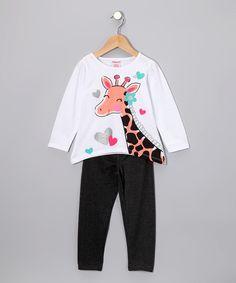 White Giraffe Tee & Jeggings - Toddler & Girls  #zulily #fall
