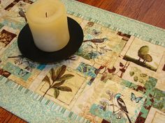 Table Runner Quilt Nature Walk Blues and Browns by susiquilts, $45.00