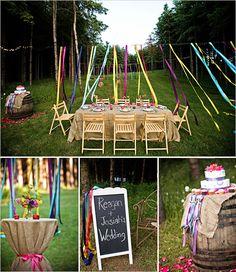 Linten decoratie leuk ook de roze strik om het tafeltje is leuk - Outdoor tuin decoratie ideeen ...