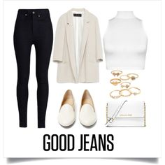 Good Jeans by samang on Polyvore featuring moda, WearAll, Zara, Rodarte, Charlotte Olympia, MICHAEL Michael Kors and Mudd
