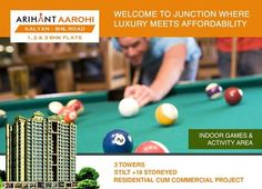 Arihant Aarohi  Kalyan Shill Road - 1 2 & 3 BHK Flats - 3 Towers, Stilt+18 Storeyed, Residential Cum Commercial Project Indoor Games & Activity Area http://www.asl.net.in/arihant-aarohi.html #ArihantAarohi #RealEstate #Homes #Property #Residential #Commercial #KalyanShillRoad