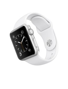 Apple Watch Sport – Caixa de 38 mm prateada de alumínio com pulseira desportiva branca