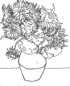 van goghs sunflowers coloring pages | 85 Best sunflower coloring page van gogh images ...