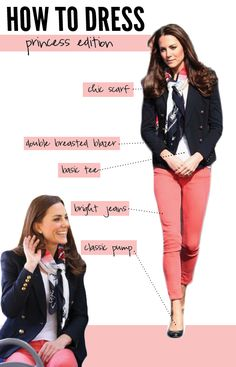 princess kate--- All I need for this look is the bright jeans! Estilo Kate Middleton, Princess Kate Middleton, Kate Middleton Style, Mode Style, Style Me, Royal Fashion, Women's Fashion, Fashion Tips, Casual Outfits