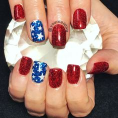 Patriotic nails, Memorial Day nails. Red white blue nails.