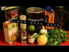"""#NutribulletRx """"Black Bean""""Soups Vegan Recipe made with 1 tablespoon of olive oil, 1 medium onion diced, 2 rib celery, 1 large carrot diced, 1 clove of garlic, 2 15-oz cans of organic black beans, rinsed, 1 tablespoon fresh lime juice, 1 teaspoon of salt, 2 teaspoon ground cumin, 1/2 teaspoon red pepper flakes, 2 cups vegetable broth (plus 1/4 cup for the bean mixture), and 1/4 cup fresh cilantro."""