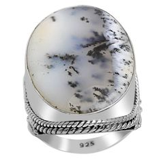 Orchid Jewelry 925 Sterling Silver 14 Carat Agate Fashion Ring (925 Silver-Agate-Size 8), Women's, White