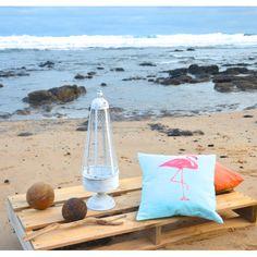 Flamingo cushion / summer beach surf boho homewares / interior decor / lifestyle products / kids bedroom style / contemporary coastal / Tevita / made in Bali