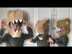 How to make a Dinosaur Head costume out of cardboard. Dress up as your favourite T-Rex Dinosaur this halloween or fancy dress party with this Dinosaur head c. Make A Dinosaur, Dinosaur Head, Dinosaur Party, Dinosaur Crafts, Dinosaur Halloween Costume, T Rex Costume, Cardboard Costume, Diy Cardboard, Diy Karton